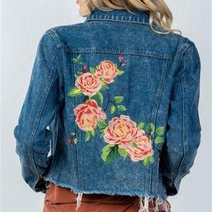 Jackets & Blazers - Floral Embroidered Denim Jacket